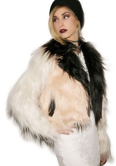 Chaser Colored Blocked Faux Fur Moto   Dolls Kill