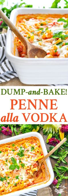 This Dump-and-Bake Penne Alla Vodka is an easy dinner recipe for the whole family to enjoy! One Pot Meals | One Pot Pasta | Easy Dinner Recipes | Casserole Recipes