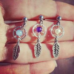 Dream Catcher Tragus Piercing- Feather Charm Dangle Bar Barbell Amethyst Opal Blue Pearl 16g 16 G Gauge Post Stud Earring Ear Jewelry on Etsy, $18.00