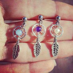 Dream Catcher Tragus Piercing- Feather Charm Dangle Bar Barbell Amethyst Opal Blue Pearl 16g 16 G Gauge Post Stud Earring Ear Jewelry on Etsy, $18.00