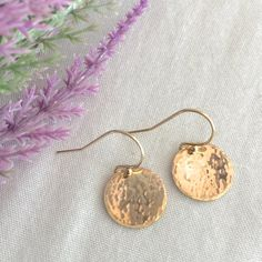 Simple 14K Gold Filled Earring Gold Disc Earring by StampedSchmuck