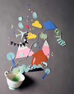 I love this art from Gozde Eker.  Wouldn't it be fun to have the kids use this as an inspiration for a book report?  Cut out story/plot elements and make it look like they spilled out of a teacup.  Snap photos under the document camera.  Best book report day EVER!