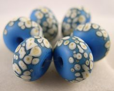Ivoried Electric Blue  Lampwork Beads 6  by LibelulaDesigns