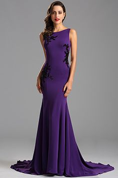 Elegant Ärmellos Spitze Applikation Lila Formal Kleid Abend (00163006) - EUR 127,49