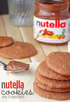 SUPER EASY!! Only 4 ingredients and you've got a yummy nutella cookie!!  You've got to try this!!!