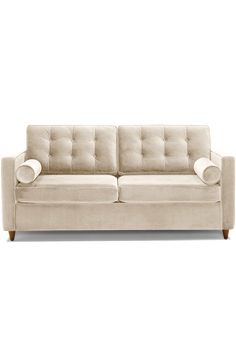 """Not your parents sleeper sofa, this sleek, tufted design converts with comfort and ease. Classic good looks and irresistible comfort as a sofa and a bed make this tufted sleeper your guest room MVP. 79""""w x 35""""d x 37""""h Sleeper Sofa, Sofa Bed, B Plan, Pink Sofa, Bolster Pillow, How To Make Bed, Guest Room, Sofas, Comforters"""