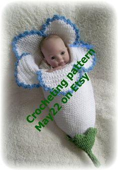 Crochet baby FLOWER cocoon pattern PDF Instant download por May22