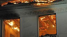 Feuer Schloss Baruth-2 Obergeschoss und Dachstuhl des Hauses stehen in ...