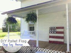 pallet plus red, white, and blue paint . Pallet Flag, Wood Flag, Diy Pallet, Primitive Crafts, Primitive Decorations, House Yard, Wood Pallets, Pallet Wood, Pergola