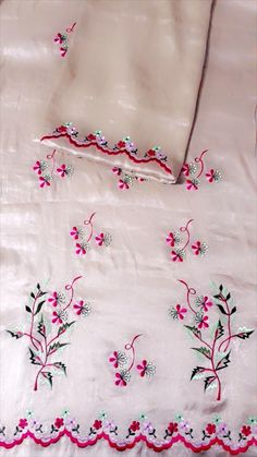 Embroidery Suits Punjabi, Embroidery On Kurtis, Hand Embroidery Dress, Kurti Embroidery Design, Embroidery Fashion, Hand Embroidery Designs, Neck Designs For Suits, Dress Neck Designs, Stylish Dress Designs