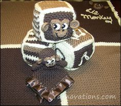 Crochet Monkey Baby Blanket and Toy Set. What fun!