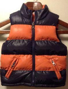 Boys Childrens Place Navy Blue Orange Bubble Reversable Vest 4T | eBay