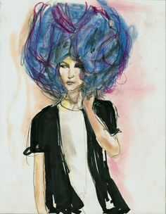 Illustration Claudio Cina; Commes Des Garcons Show 1995; all the amazing hairstyles by Julien d'ys