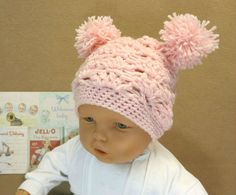 Crochet Baby Girl Hat with Pom Poms Paie Pink by NchantedGifts, $20.00