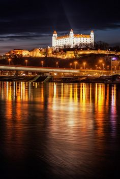 Bratislava castle and Danube river, Bratislava, Slovakia. Places Around The World, Oh The Places You'll Go, Places To Travel, Places Ive Been, Places To Visit, Around The Worlds, Europe Centrale, European River Cruises, Bratislava Slovakia