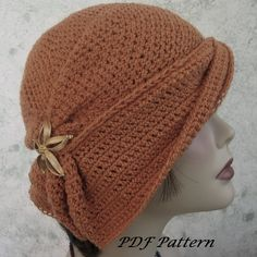 Womens Crochet Hat Pattern With Side Gathers And Draped Brim- Digital Download Skill level: For knowledgeable beginner with understanding of basic crochet stitches and terminology - pattern includes detailed step by step instructions, construction photos for adding the draped brim to the hat (hat and draped brim are done in 2 pieces) and my help/support via email anytime you have questions.  No complicated stitching- sc, hdc, dc- some construction required to bring the brim piece and the hat…
