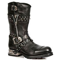 New Rock Boots Motorock Skull Buckle Style M.MR022-S1 (Black)