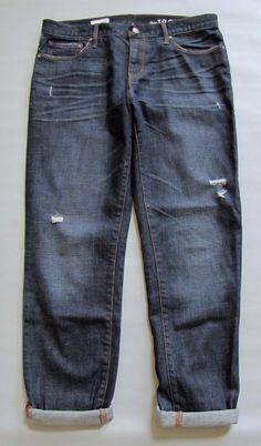 "GAP Sexy Boyfriend Jeans 28 6 T TALL Dark Distressed Marengo Denim Ankle 30"" '13 #GAP #BoyfriendRelaxedStraightLeg"