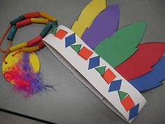 Native American dress- Thanksgiving activity with 2-d shapes and the kids can make it into a pattern!