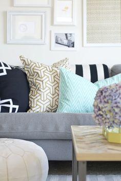 sarah m. dorsey designs: Designer Inspired Pillow Shams | Stenciled Ikea Pillow Shams for only $3 each!