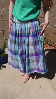 Pastel plaid midi skirt for summer. Free Shipping - 80s, Pinot Noir, Plaid, Cotton Skirt by JuniperLaneAZ, $24.00