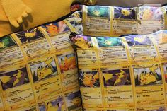 PIKACHU Trading Card Pillows by KitaArcherDesigns on Etsy, $20.00