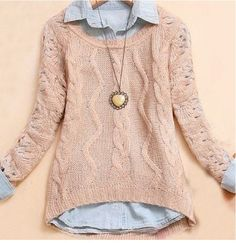 Cute sweater with collared shirt under