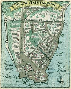 Here's how Amsterdam turned into New York overnight. New Amsterdam was renamed New York on September in honor of the then Duke of York (later James II Vintage New York, Vintage Maps, Antique Maps, New York City Map, City Maps, Us History, American History, History Education, Teaching History