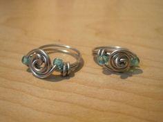 anelli fai da te argento e perline
