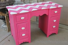 repainted desk furniture in pink chevron, cute handles by themagicbrushinc.com