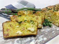 Plumcake salty ham and provolone - Il plumcake salato prosciutto e provola con la copertura di asparagi, ha un gusto rustico e deciso. Si prepara in pochi minuti e poi subito in forno.