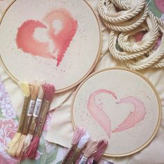 watercolored designs that will be highlighted with embroidery