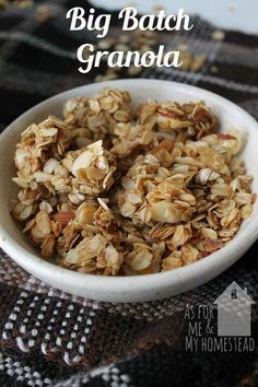 Big batch granola is a great recipe for families! Make granola at home and save tons of money from the store bought prices!