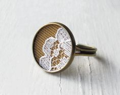Floral Lace Ring, Mustard Yellow Fabric Jewelry, White Vintage Lace Fashion, Brass, Adjustable