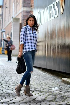 oversized shirt, skinny jeans, and booties