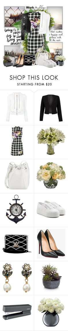 """Work & Play"" by sheavschaaf ❤ liked on Polyvore featuring DRKSHDW, WithChic, Christopher Kane, Jane Seymour Botanicals, Mansur Gavriel, Diane James, Superga, Louis Vuitton, Christian Louboutin and Gucci"