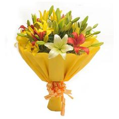 Buy or send flowers online from RAMI FLORIST, one of the easiest ways to shop flowers online and send flowers across the India. Bunch of 8 colorful asiatic lilies (3 yellow, 3 red, 2 white) with green fillers in yellow paper packing and yellow ribbon
