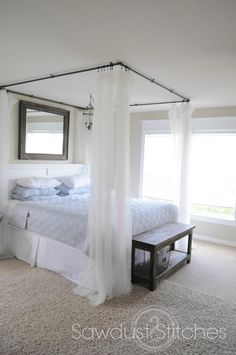 Diy canopy bed wood plans with curtains tent for kid bedroom home improvement Boys Bed Canopy, Black Canopy Beds, Canopy Bed Curtains, Bed Tent, Diy Canopy, White Canopy, Canopy Bedroom, Ceiling Canopy, White Bedding