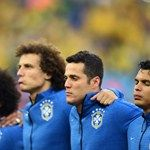 Marcelo, David Luiz, Julio Cesar and Thiago Silva line up prior to the 2014 FIFA World Cup Brazil Group A match #Brasil #Brazil