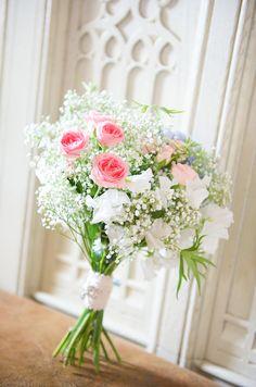 Wedding Gypsophila, Sweet peas, Delphiniums, Hydrangeas, Rose, Astrantia Bouquet http://www.marriedtomycamera.com/