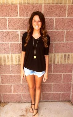 Piko v-neck short sleeve top w/ fitted sleeves-more colors #lushfashionlounge #piko #okc