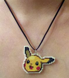 Pikachu stitched necklace by starrley.deviantart.com on @deviantART