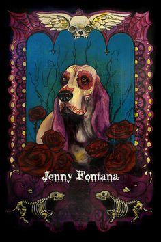Dia de los Muertos doggie Basset Hound