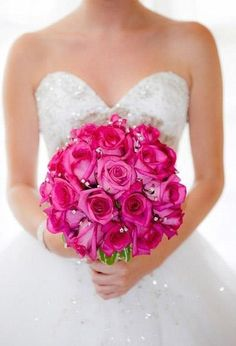 Wedding flowers brides posy bouquet in hot pink roses crystals beauty and the beast bouquet base find this pin and more on hot pink wedding mightylinksfo