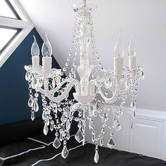 Provincial Vintage Chandelier 5 Light French White Clear Crystals Glass Post New | eBay