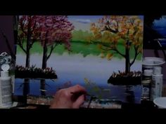 How to paint fall trees with acrylic paint, lesson 4, reflections, water...