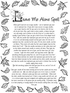 ☆ Leave Me Alone Spell ☆