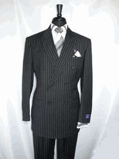 """Vinci Dss-4 """"Double Breasted"""" Classic 6 X 2 buttons """"Black Pin Stripe"""" Suit """"Zegna Model"""" has Peak Lapel High back Vented Jacket with Flap Pockets and Luxurious Wool Feel. The matching Pants are pleated lined to the knee complete with """"Wide Leg"""" (20 inch bottom) available for $169.99 @ BerganBrothersSuits.com. Suits sizes available are 38R-56R, 40L-56L @BerganBrothersSuits.com Thanks for more info call us at 315-471-9162.. Not Your Average Mens Store."""