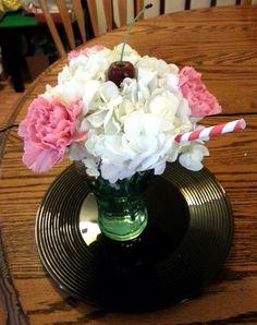 Retro 50's milkshake flower centerpiece