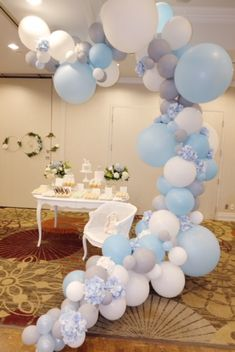Baby shower boy - baby blue, white, gray. Custom balloon garland with florals by @shoptstc #thesweetestthing